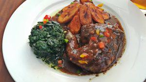 Jerk chicken with plantain and Spinach